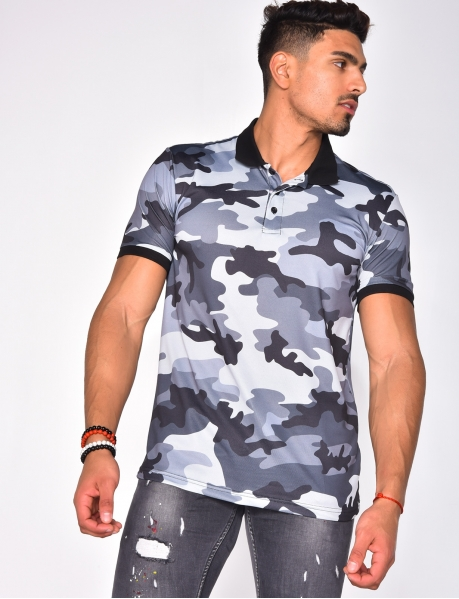 Polo Shirt with Camouflage Pattern