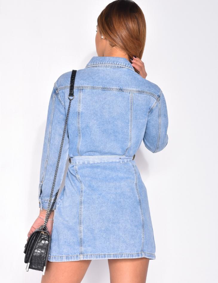 Robe en jeans à ceinture
