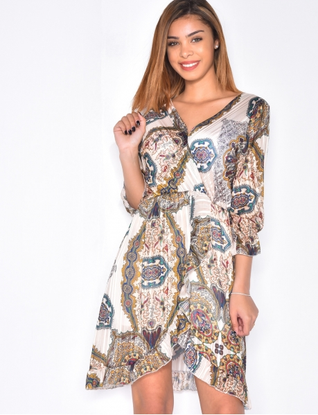 Loose Fit Dress with Baroque Pattern