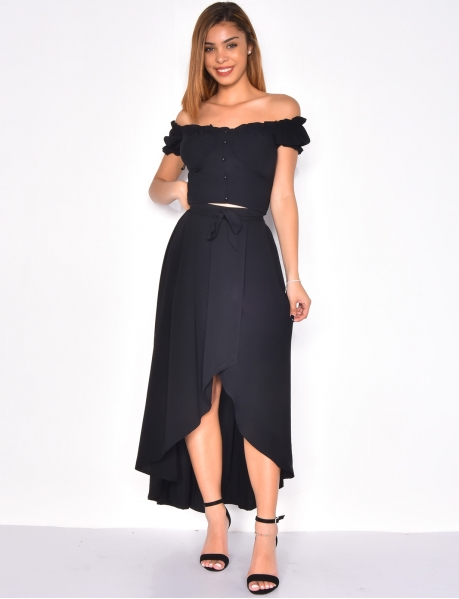 Long Loose Fit Tie Skirt