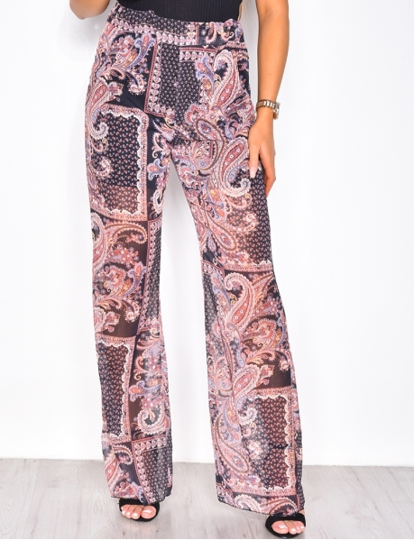 Loose Fit Trousers with Baroque Pattern