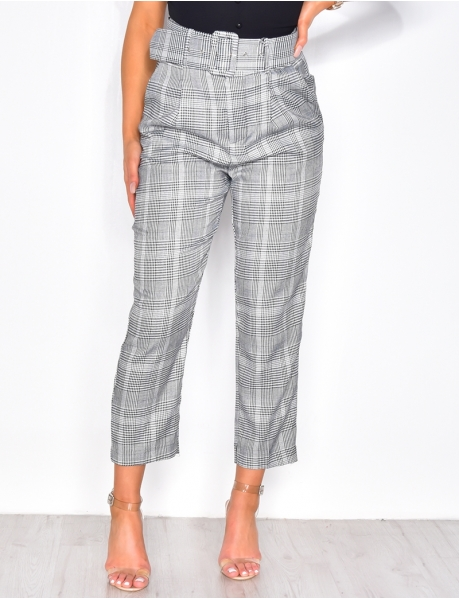 High Waisted Checked Trousers with Belt