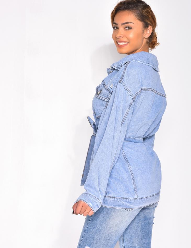 Veste en jeans destroy à nouer