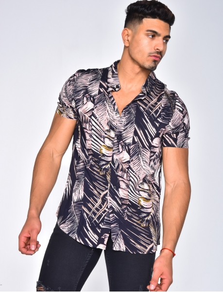 Short Sleeved Shirt with Tropical Pattern