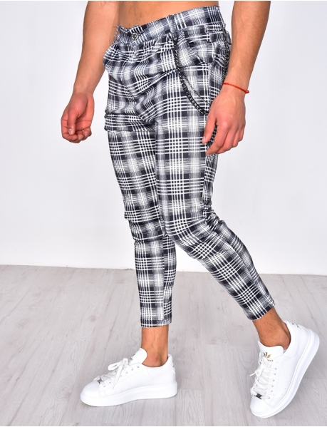 Checked Trousers with Chain