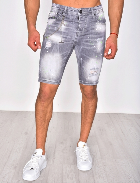 Shorts with Paint Flecks and Chain