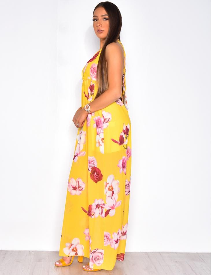 Robe en voile dos nu à motif fleurs