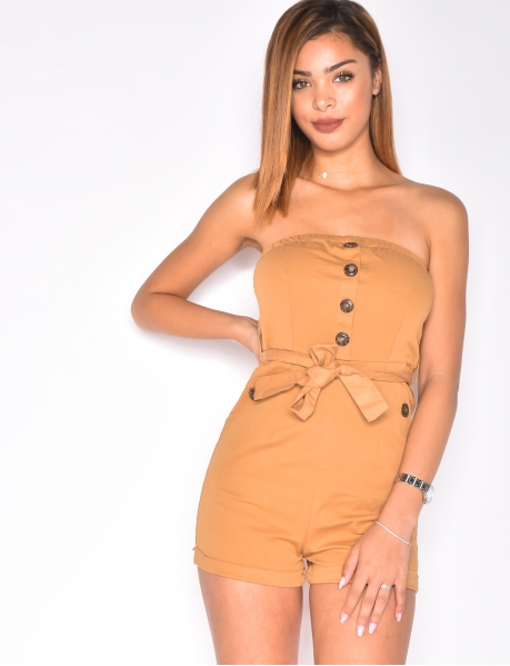 Strapless Playsuit with Buttons and Belt