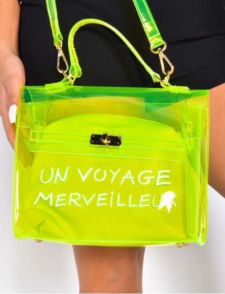 """Sac à mains transparent """"Un Voyage Merveilleux"""" avec pochette"""