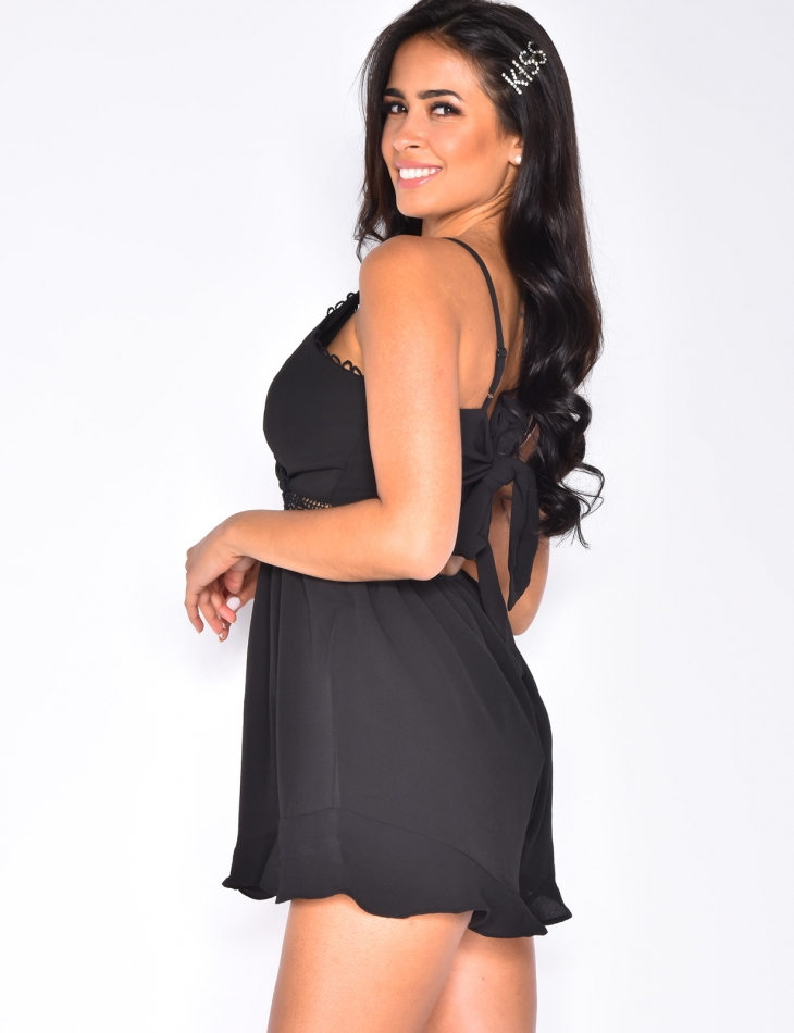 Playsuit with Tie Up Open Back