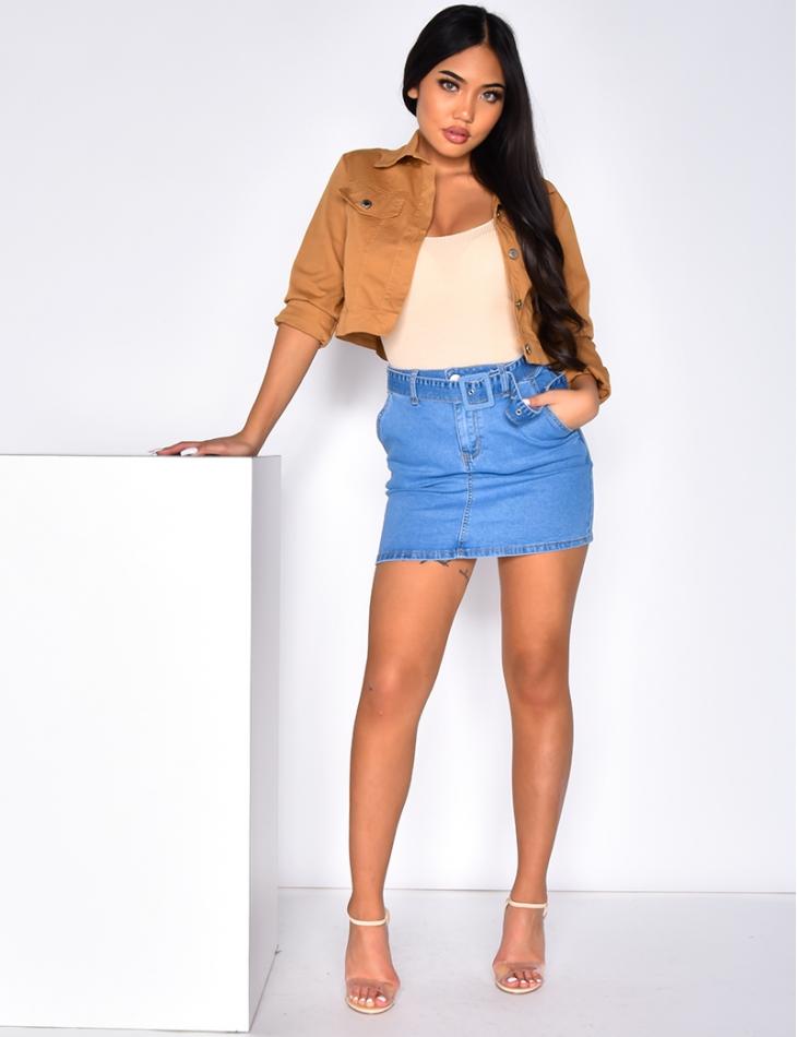 Basic denim skirt with belt