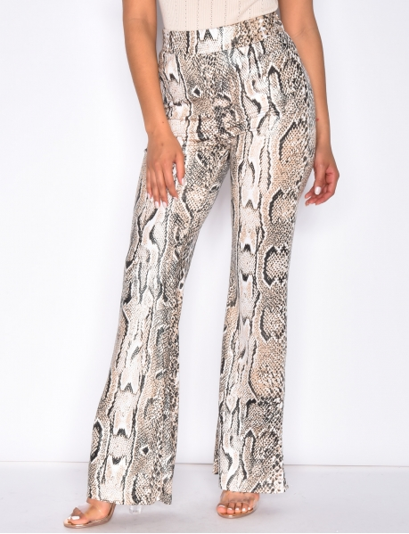 Loose Fit Trousers with Snakeskin Pattern