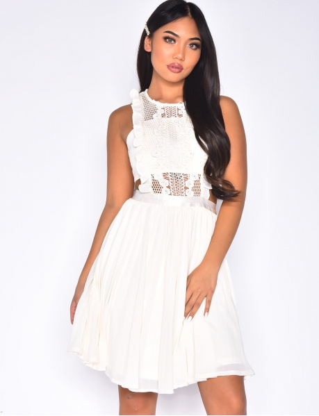 Openwork Voile and Lace Dress