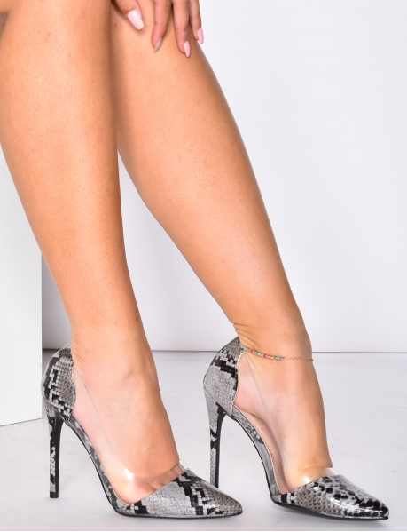 Transparent High Heels with Snakeskin Effect