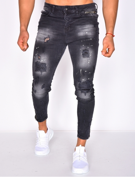 Ripped Slim Jeans with Paint Flecks and Zip