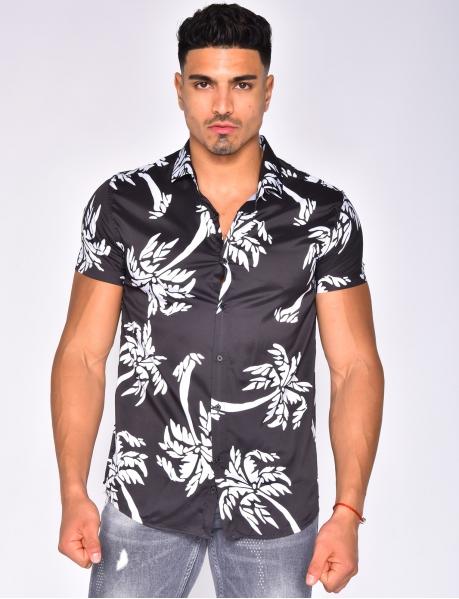Chemise manches courtes à motif palmiers