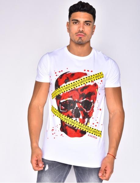 """T-shirt tête de mort en strass """"Shots Fired"""""""