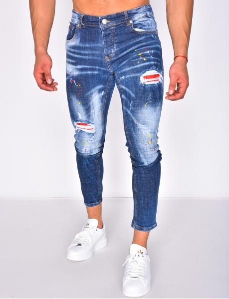 Jeans destroy à peinture