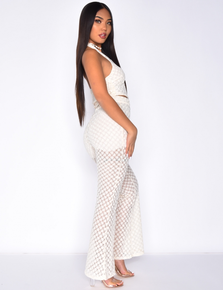 Lace Flared Trousers and Crop Top Co-ord