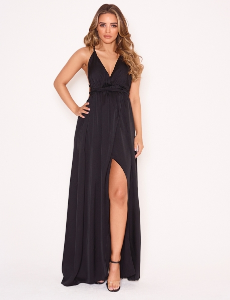 Long Backless Satin Dress