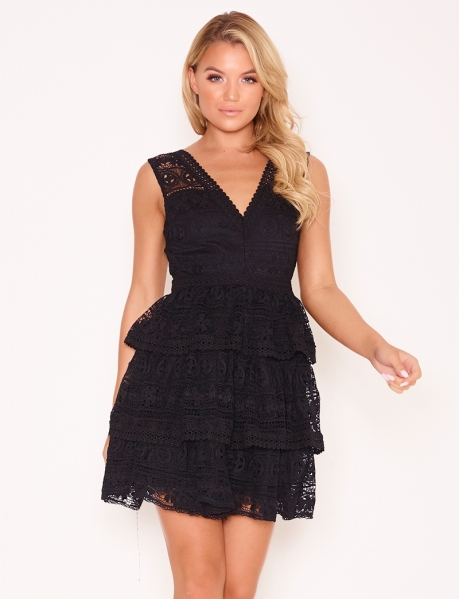 Low-Cut Dress with Ruffles and Embroidery