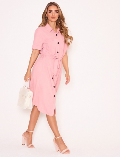 Tie Shirt Dress with Buttons