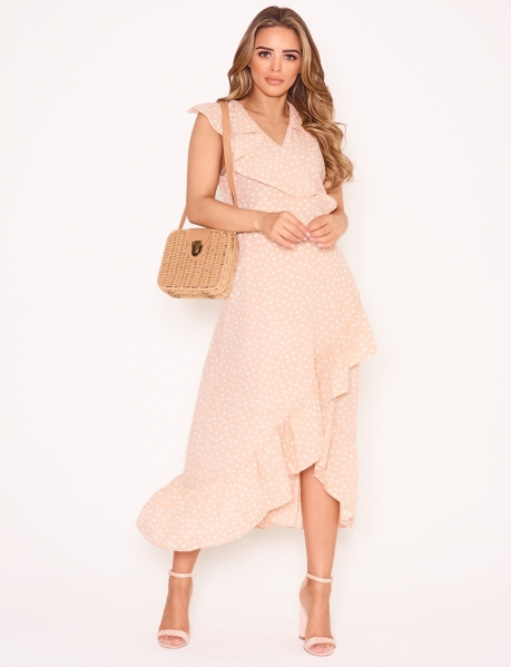Long Aysmmetric Tie Dress with Polka Dots
