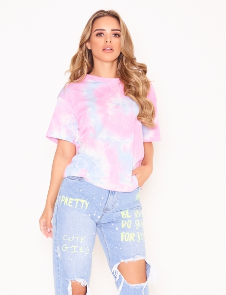 T-Shirt in Tie-Dye-Optik