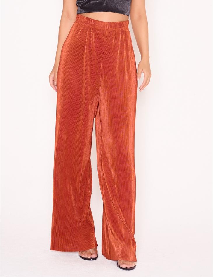Pantalon fluide taille haute texturé