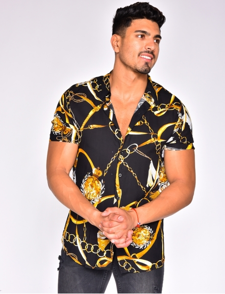 Short Sleeved Shirt with Chain Pattern