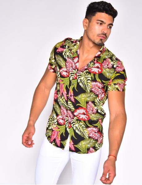 Chemise manches courtes à motifs tropicaux