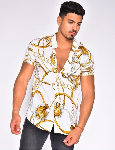 Chemise manches courtes à motifs chaines