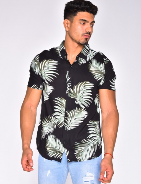 Short Sleeved Shirt with Leaves