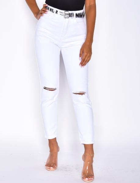 Jeans destroy, Mom Fit, mit Gürtel