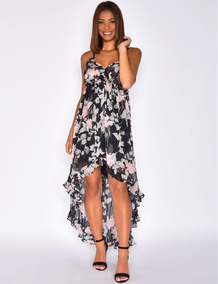 Asymmetric Flowery Voile Dress