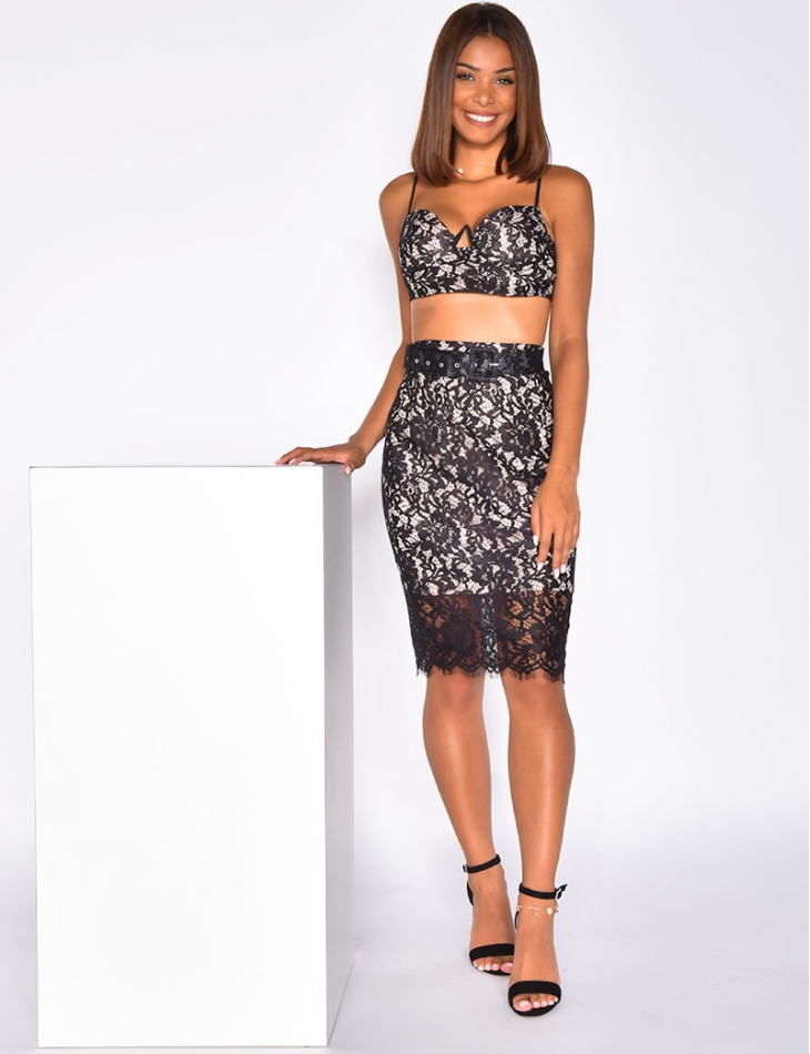 Lace Crop Top and Skirt Co-ord with Belt