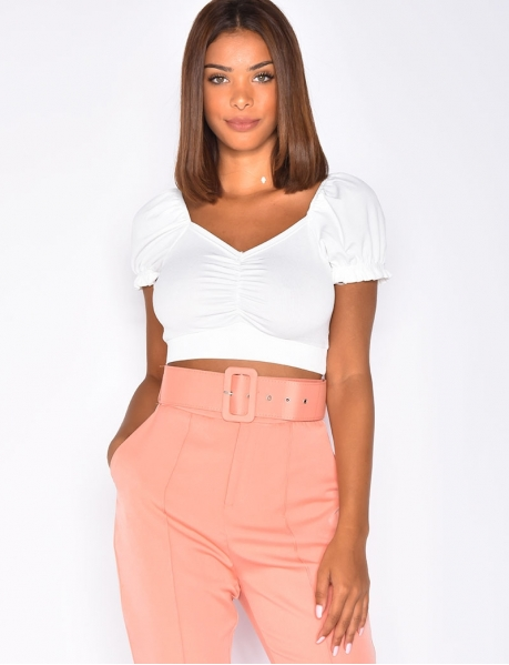 Ribbed Crop Top with Heart Neckline