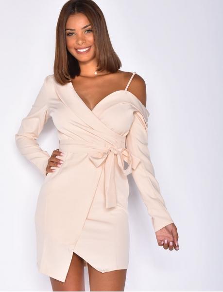 Robe style blazer nude