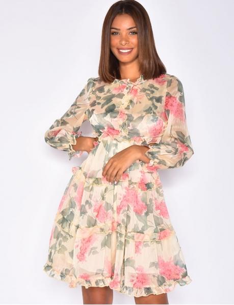 Robe dos nu motif fleurs