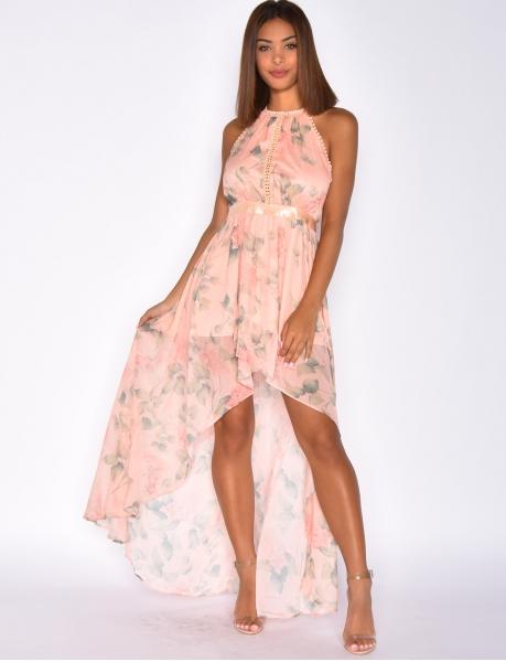 Asymmetric Dress with Flowers