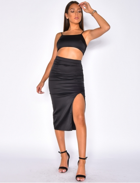 Long Crop Top and Skirt Co-ord