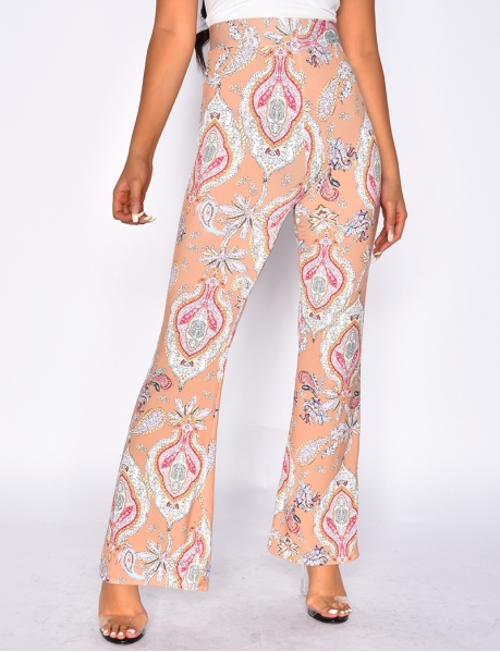 Loose-Fit Trousers with Flower Pattern