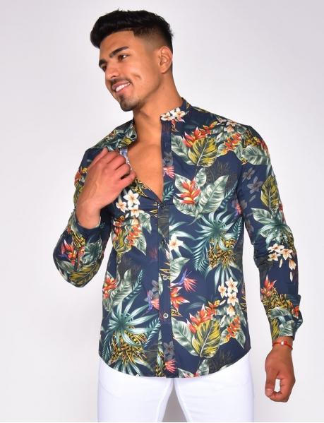 Chemise à motif feuilles