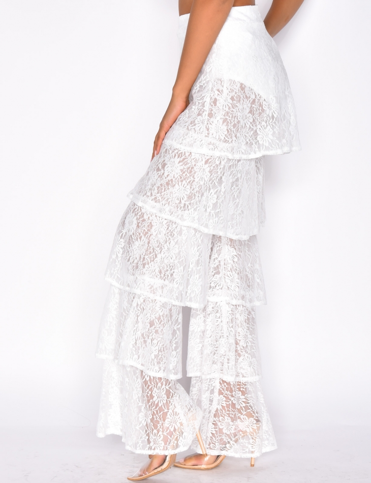 Lace Ruffle Trousers