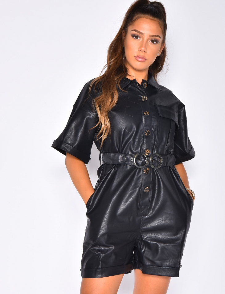PU Leather Playsuit with Buttons and Belt
