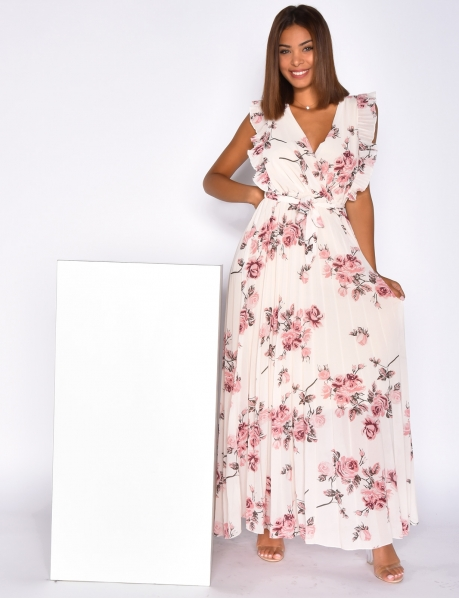 Long Dress with Tie and Flower Pattern