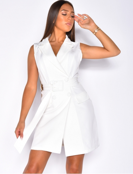 Dress with Buttons and Belt
