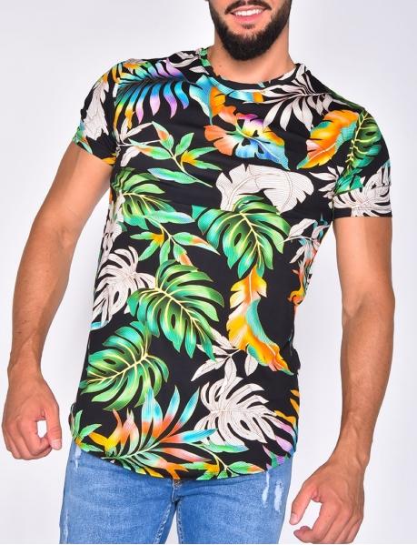 T-shirt  à motif feuilles