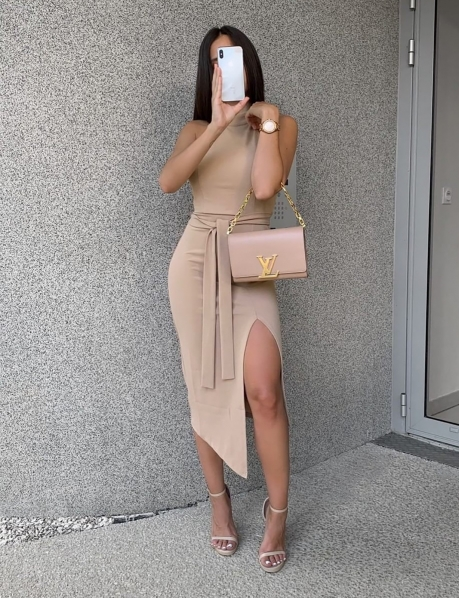 Backless Nude Tie Slit Dress