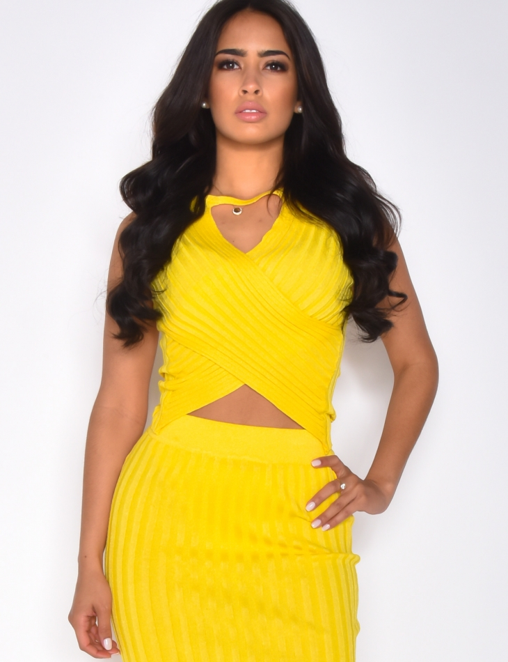Crossover Ribbed Vest Top with Openwork Front